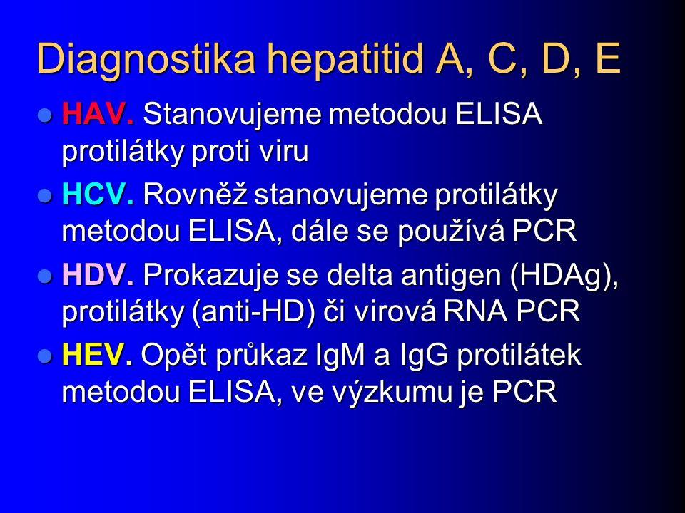 Diagnostika hepatitid A, C, D, E HAV. Stanovujeme metodou ELISA protilátky proti viru HAV. Stanovujeme metodou ELISA protilátky proti viru HCV. Rovněž