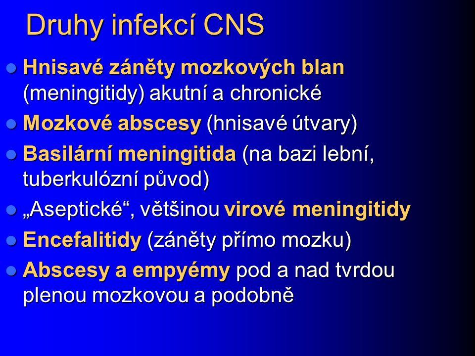 Druhy infekcí CNS Hnisavé záněty mozkových blan (meningitidy) akutní a chronické Hnisavé záněty mozkových blan (meningitidy) akutní a chronické Mozkov