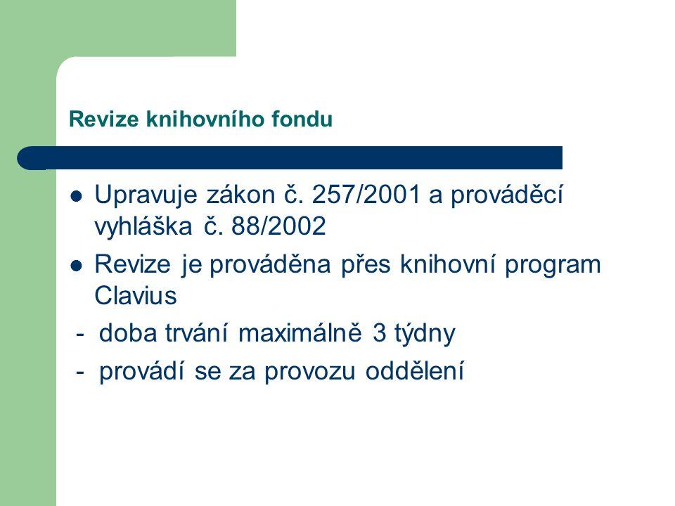 Revize knihovního fondu Upravuje zákon č. 257/2001 a prováděcí vyhláška č.