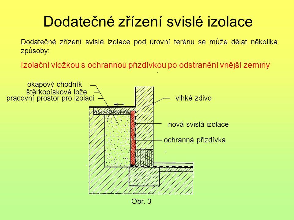 Dodatečné zřízení svislé izolace. Dodatečné zřízení svislé izolace pod úrovní terénu se může dělat několika způsoby: Izolační vložkou s ochrannou přiz