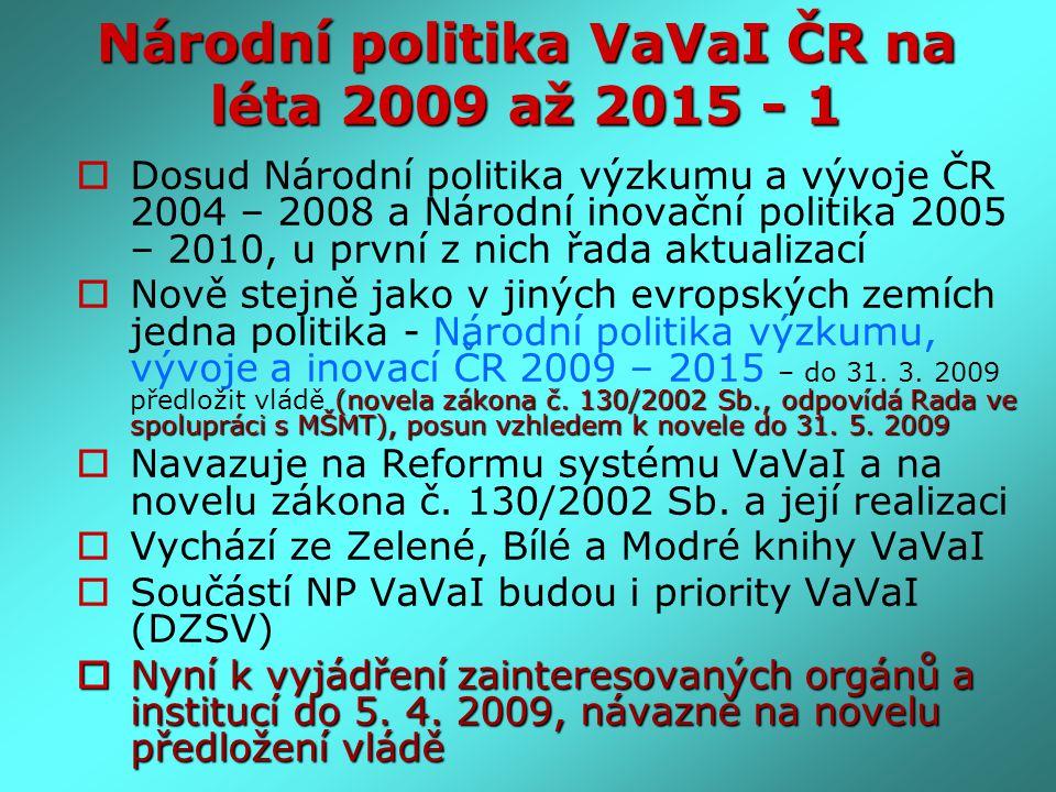 Národní politika VaVaI ČR na léta 2009 až 2015 - 1  Dosud Národní politika výzkumu a vývoje ČR 2004 – 2008 a Národní inovační politika 2005 – 2010, u