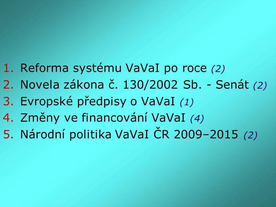 1.Reforma systému VaVaI po roce (2) 2.Novela zákona č. 130/2002 Sb. - Senát (2) 3.Evropské předpisy o VaVaI (1) 4.Změny ve financování VaVaI (4) 5.Nár