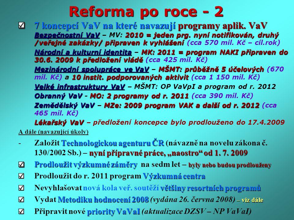 Reforma po roce - 2 7 koncepcí VaV na které navazují programy aplik. VaV Bezpečnostní VaV2010 = jeden prg. nyní notifikován, druhý /veřejné zakázky/ p