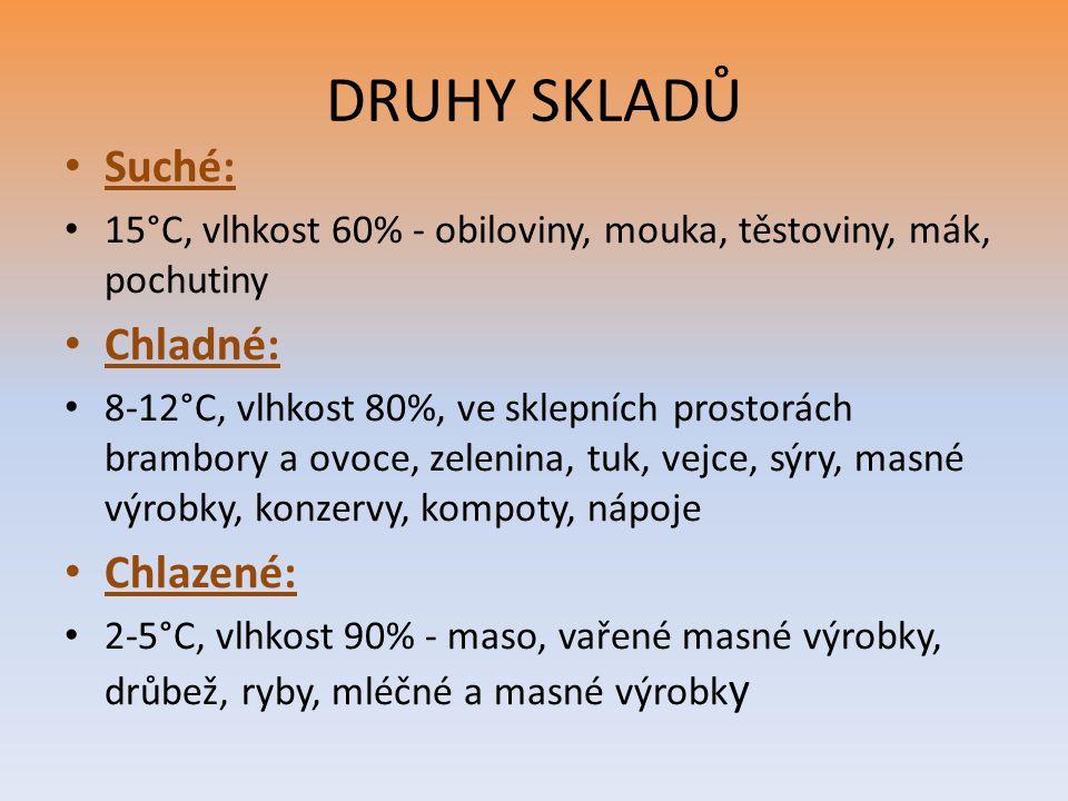 DRUHY SKLADŮ Suché: 15°C, vlhkost 60% - obiloviny, mouka, těstoviny, mák, pochutiny Chladné: 8-12°C, vlhkost 80%, ve sklepních prostorách brambory a o