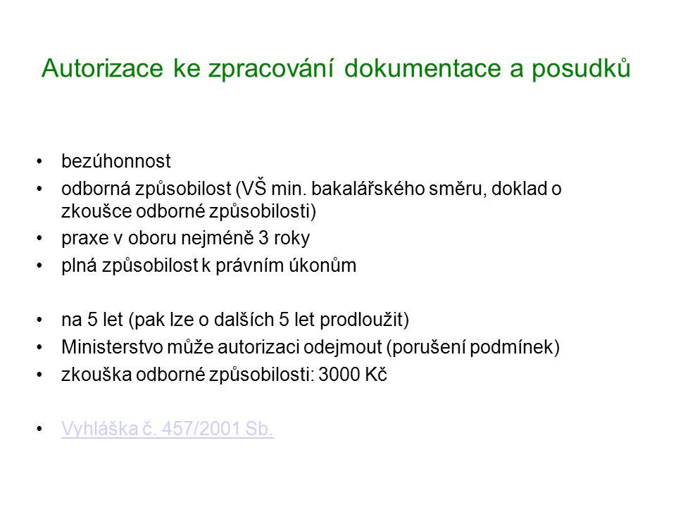 Autorizace ke zpracování dokumentace a posudků bezúhonnost odborná způsobilost (VŠ min. bakalářského směru, doklad o zkoušce odborné způsobilosti) pra