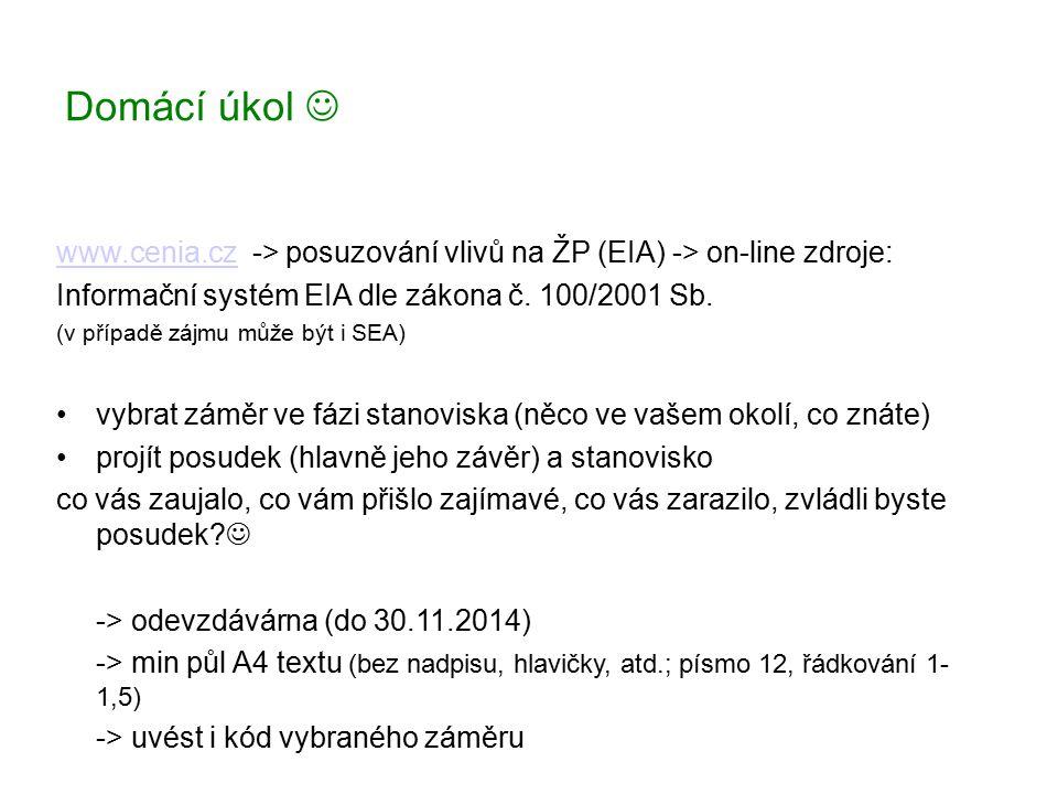 Domácí úkol www.cenia.czwww.cenia.cz -> posuzování vlivů na ŽP (EIA) -> on-line zdroje: Informační systém EIA dle zákona č. 100/2001 Sb. (v případě zá