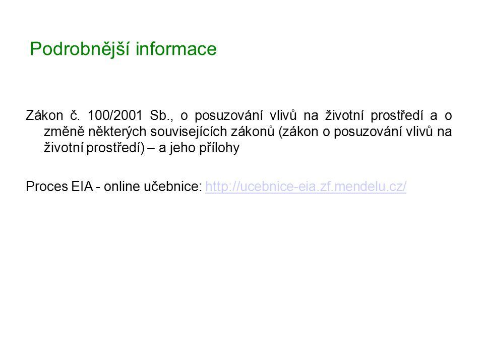 Podrobnější informace Zákon č. 100/2001 Sb., o posuzování vlivů na životní prostředí a o změně některých souvisejících zákonů (zákon o posuzování vliv