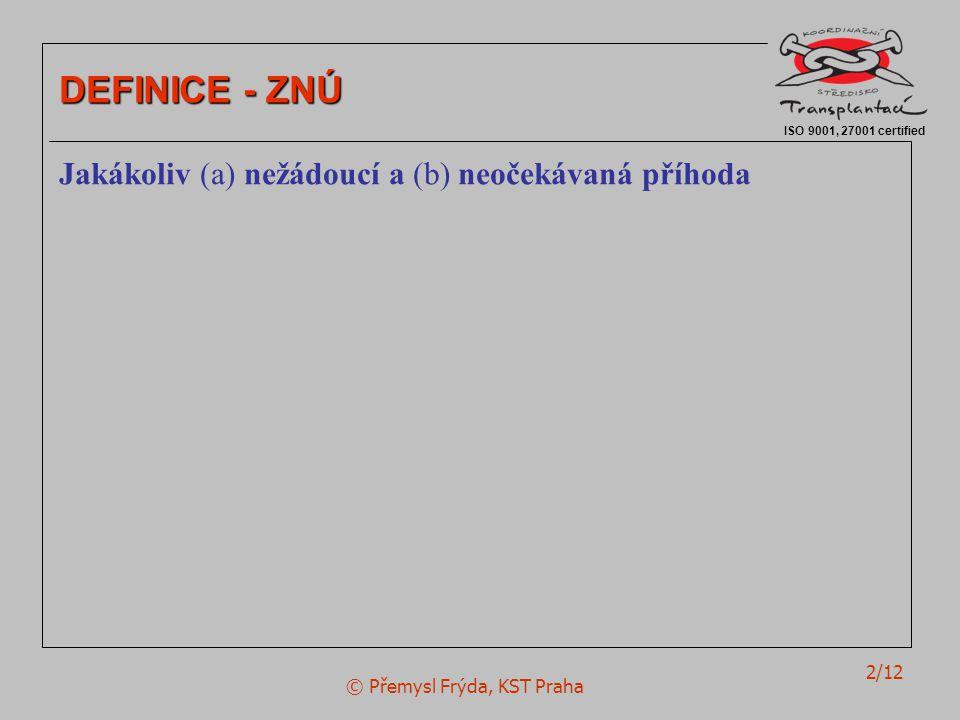 © Přemysl Frýda, KST Praha 2/12 ISO 9001, 27001 certified DEFINICE - ZNÚ Jakákoliv (a) nežádoucí a (b) neočekávaná příhoda