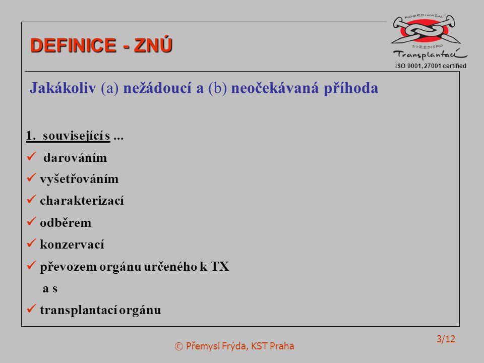 © Přemysl Frýda, KST Praha 3/12 ISO 9001, 27001 certified DEFINICE - ZNÚ Jakákoliv (a) nežádoucí a (b) neočekávaná příhoda 1.