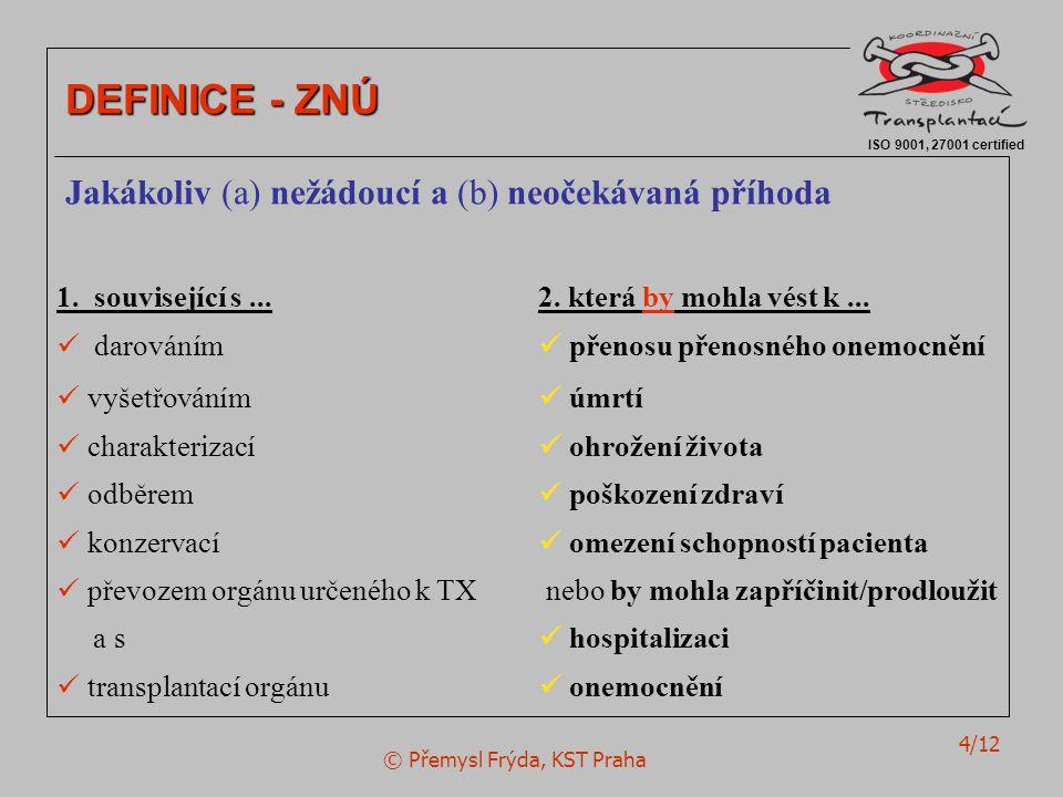 © Přemysl Frýda, KST Praha 4/12 ISO 9001, 27001 certified DEFINICE - ZNÚ Jakákoliv (a) nežádoucí a (b) neočekávaná příhoda 1.