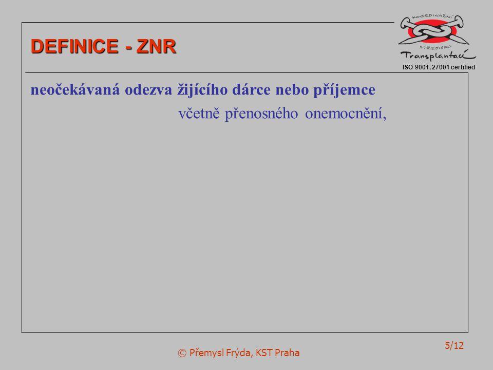 © Přemysl Frýda, KST Praha 5/12 ISO 9001, 27001 certified DEFINICE - ZNR neočekávaná odezva žijícího dárce nebo příjemce včetně přenosného onemocnění,