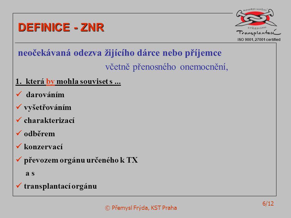 © Přemysl Frýda, KST Praha 6/12 ISO 9001, 27001 certified DEFINICE - ZNR neočekávaná odezva žijícího dárce nebo příjemce včetně přenosného onemocnění, 1.