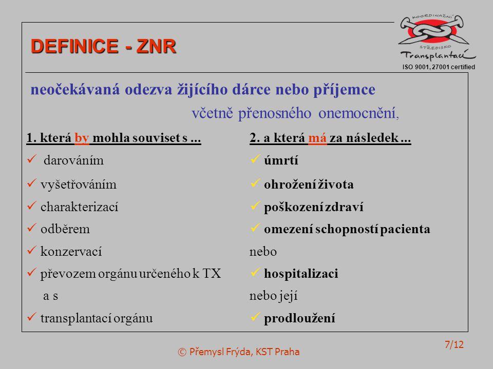© Přemysl Frýda, KST Praha 7/12 ISO 9001, 27001 certified DEFINICE - ZNR neočekávaná odezva žijícího dárce nebo příjemce včetně přenosného onemocnění, 1.