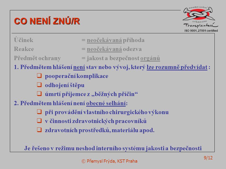 © Přemysl Frýda, KST Praha 9/12 ISO 9001, 27001 certified CO NENÍ ZNÚ/R