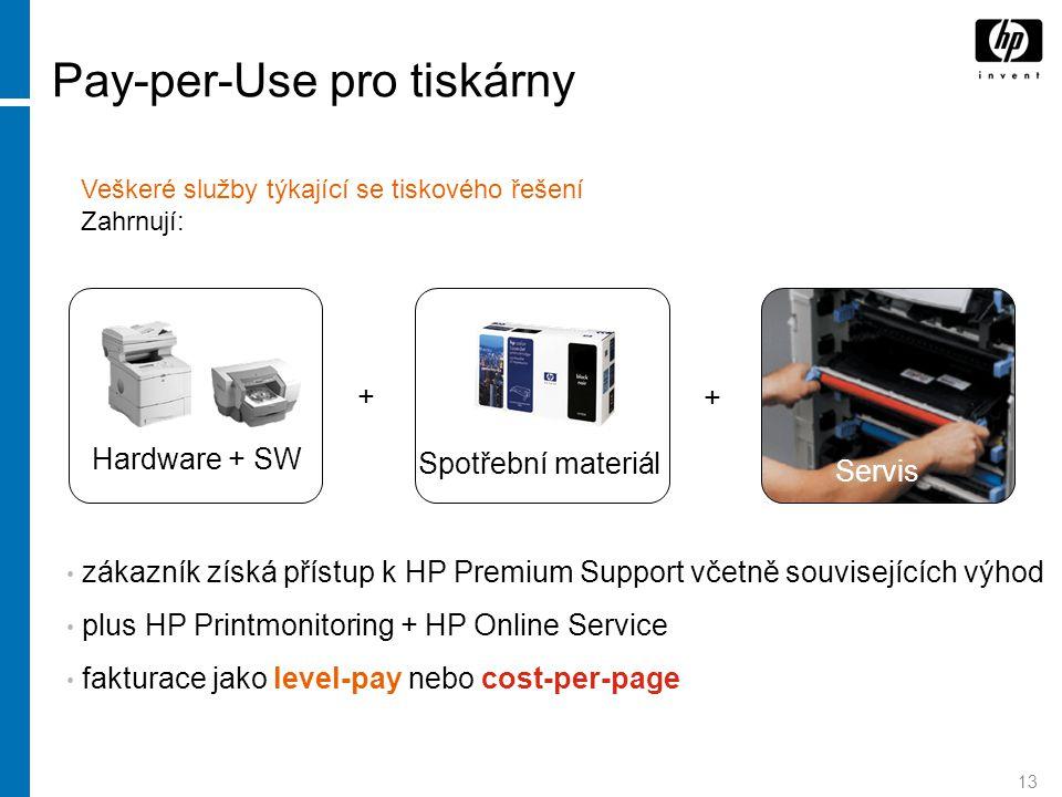 13 Pay-per-Use pro tiskárny Spotřební materiál Hardware + SW Servis zákazník získá přístup k HP Premium Support včetně souvisejících výhod plus HP Printmonitoring + HP Online Service fakturace jako level-pay nebo cost-per-page + + Veškeré služby týkající se tiskového řešení Zahrnují: