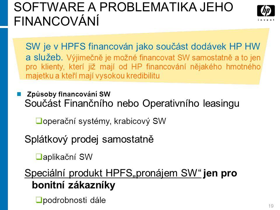19 SOFTWARE A PROBLEMATIKA JEHO FINANCOVÁNÍ Součást Finančního nebo Operativního leasingu  operační systémy, krabicový SW Splátkový prodej samostatně