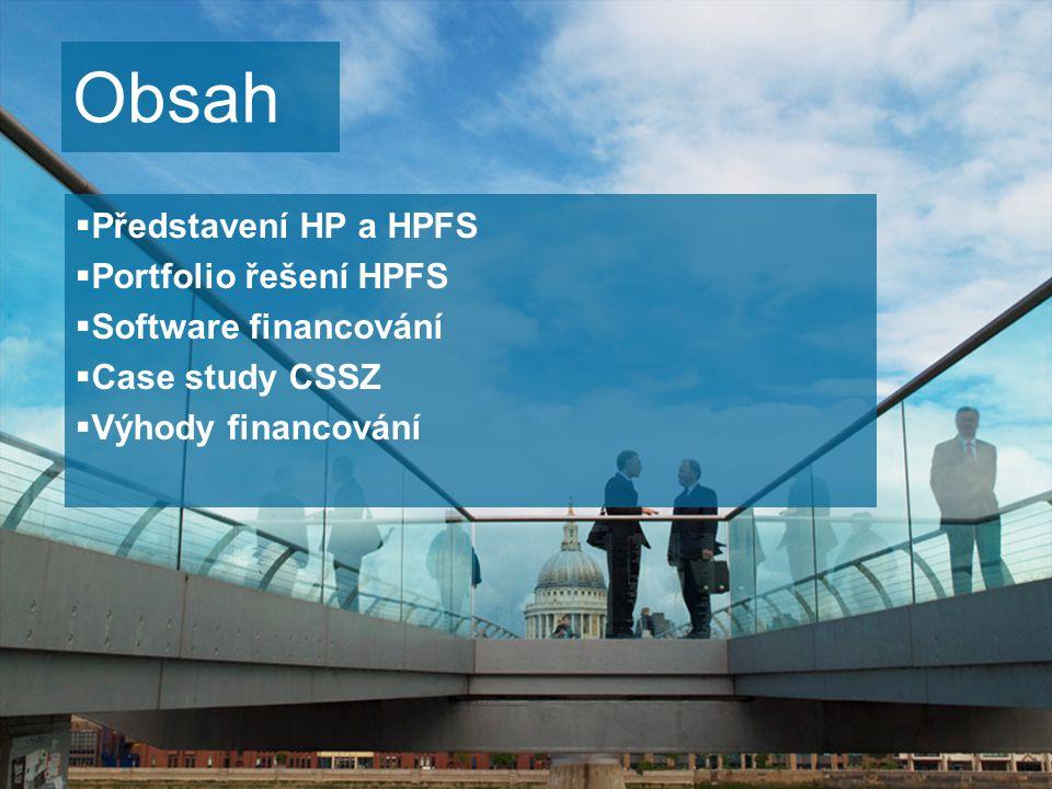 2  Představení HP a HPFS  Portfolio řešení HPFS  Software financování  Case study CSSZ  Výhody financování Obsah