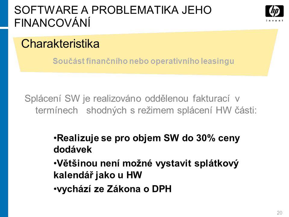 20 SOFTWARE A PROBLEMATIKA JEHO FINANCOVÁNÍ Charakteristika Součást finančního nebo operativního leasingu Splácení SW je realizováno oddělenou faktura