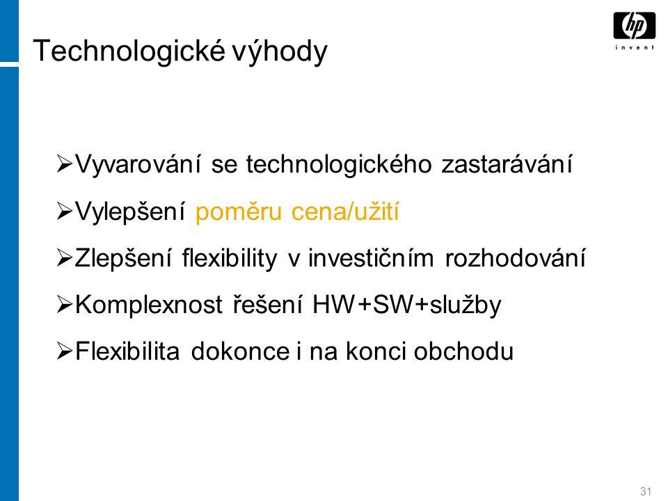 31 Technologické výhody  Vyvarování se technologického zastarávání  Vylepšení poměru cena/užití  Zlepšení flexibility v investičním rozhodování  K