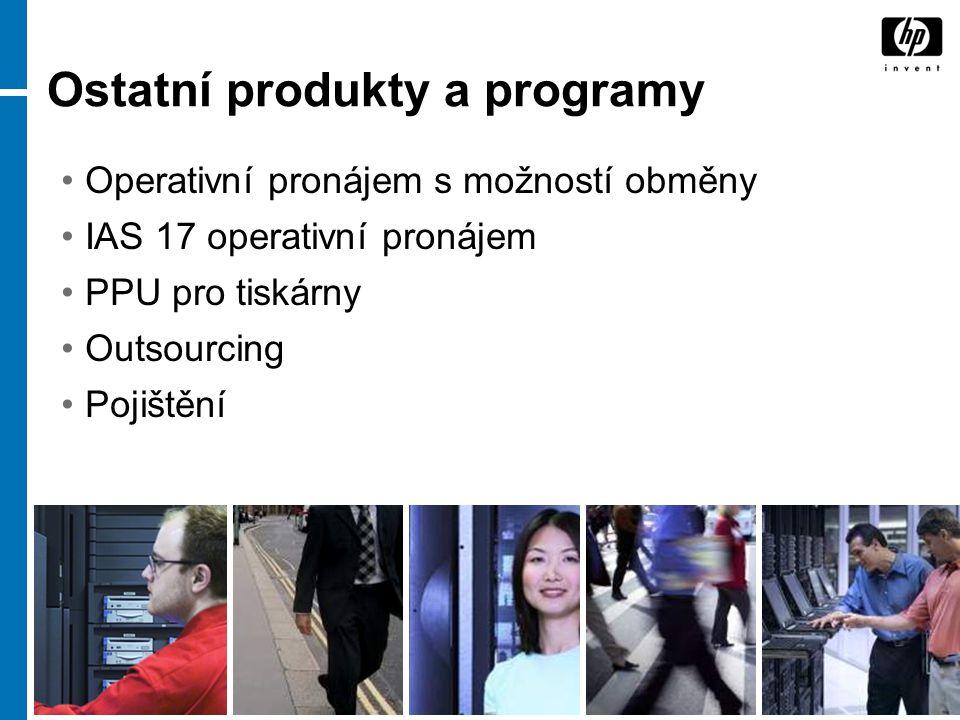 9 Ostatní produkty a programy Operativní pronájem s možností obměny IAS 17 operativní pronájem PPU pro tiskárny Outsourcing Pojištění