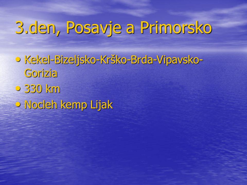 3.den, Posavje a Primorsko Kekel-Bizeljsko-Krško-Brda-Vipavsko- Gorizia Kekel-Bizeljsko-Krško-Brda-Vipavsko- Gorizia 330 km 330 km Nocleh kemp Lijak N