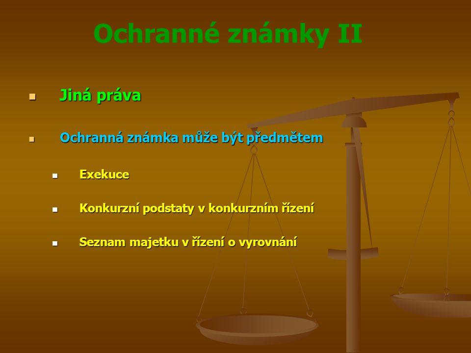 Ochranné známky II Jiná práva Jiná práva Ochranná známka může být předmětem Ochranná známka může být předmětem Exekuce Exekuce Konkurzní podstaty v konkurzním řízení Konkurzní podstaty v konkurzním řízení Seznam majetku v řízení o vyrovnání Seznam majetku v řízení o vyrovnání