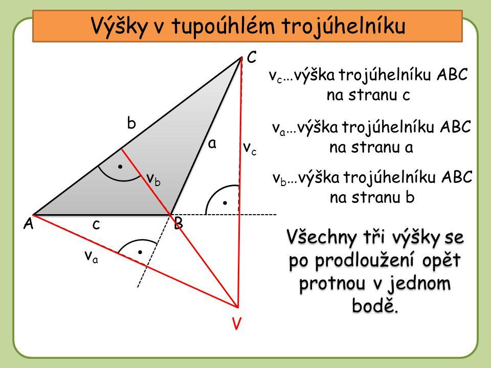 DD Výšky v tupoúhlém trojúhelníku A C b a cB vcvc v c …výška trojúhelníku ABC na stranu c vava v a …výška trojúhelníku ABC na stranu a v b …výška trojúhelníku ABC na stranu b vbvb Všechny tři výšky se po prodloužení opět protnou v jednom bodě.