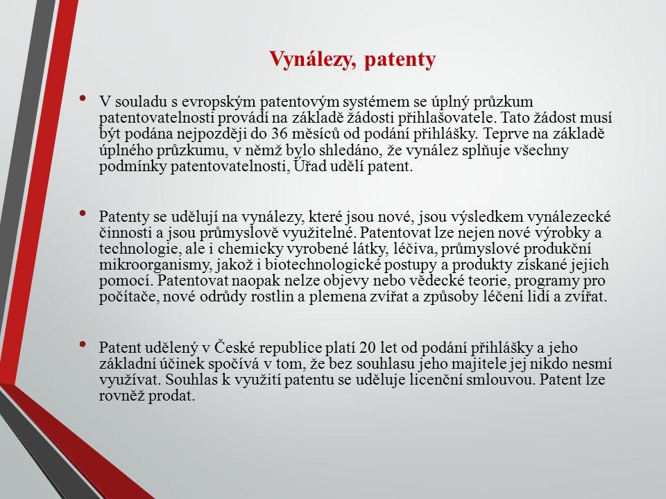 Vynálezy, patenty V souladu s evropským patentovým systémem se úplný průzkum patentovatelnosti provádí na základě žádosti přihlašovatele. Tato žádost