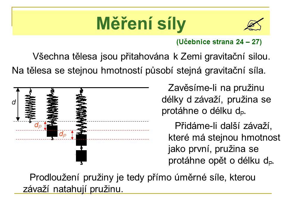 (Učebnice strana 24 – 27) Měření síly Všechna tělesa jsou přitahována k Zemi gravitační silou. Na tělesa se stejnou hmotností působí stejná gravitační
