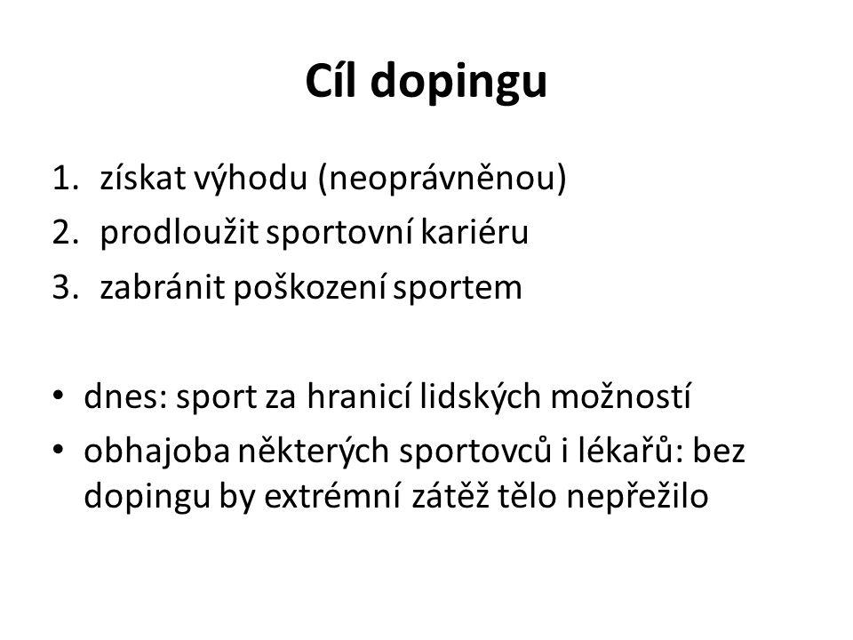 Cíl dopingu 1.získat výhodu (neoprávněnou) 2.prodloužit sportovní kariéru 3.zabránit poškození sportem dnes: sport za hranicí lidských možností obhajoba některých sportovců i lékařů: bez dopingu by extrémní zátěž tělo nepřežilo