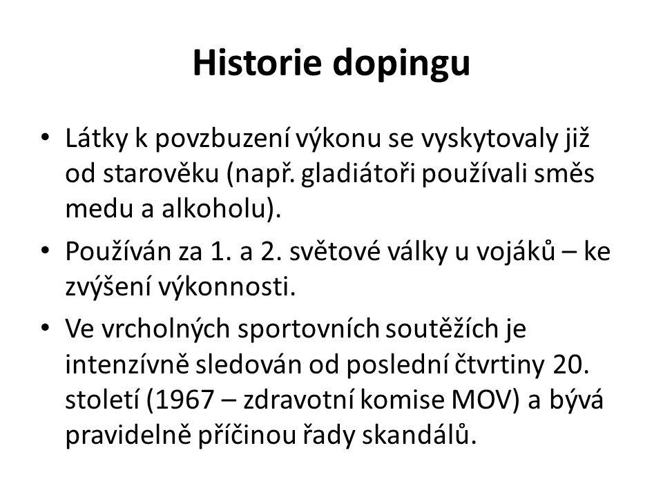 Historie dopingu Látky k povzbuzení výkonu se vyskytovaly již od starověku (např.