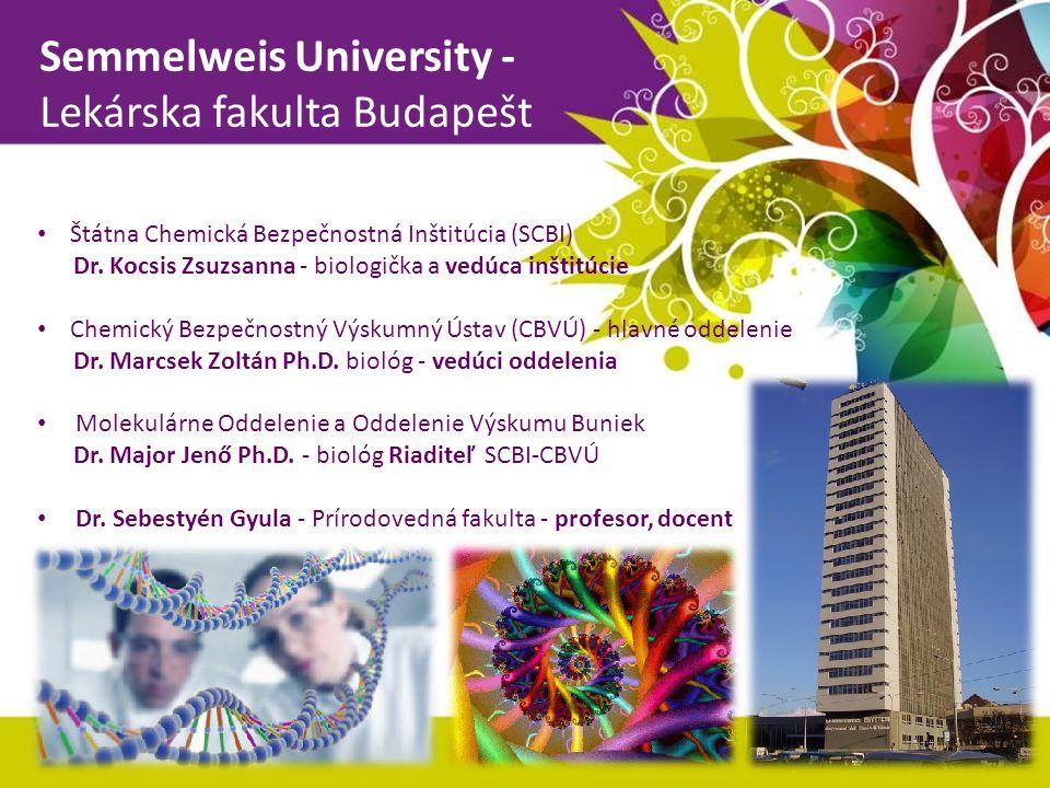 Semmelweis University - Lekárska fakulta Budapešt Štátna Chemická Bezpečnostná Inštitúcia (SCBI) Dr. Kocsis Zsuzsanna - biologička a vedúca inštitúcie