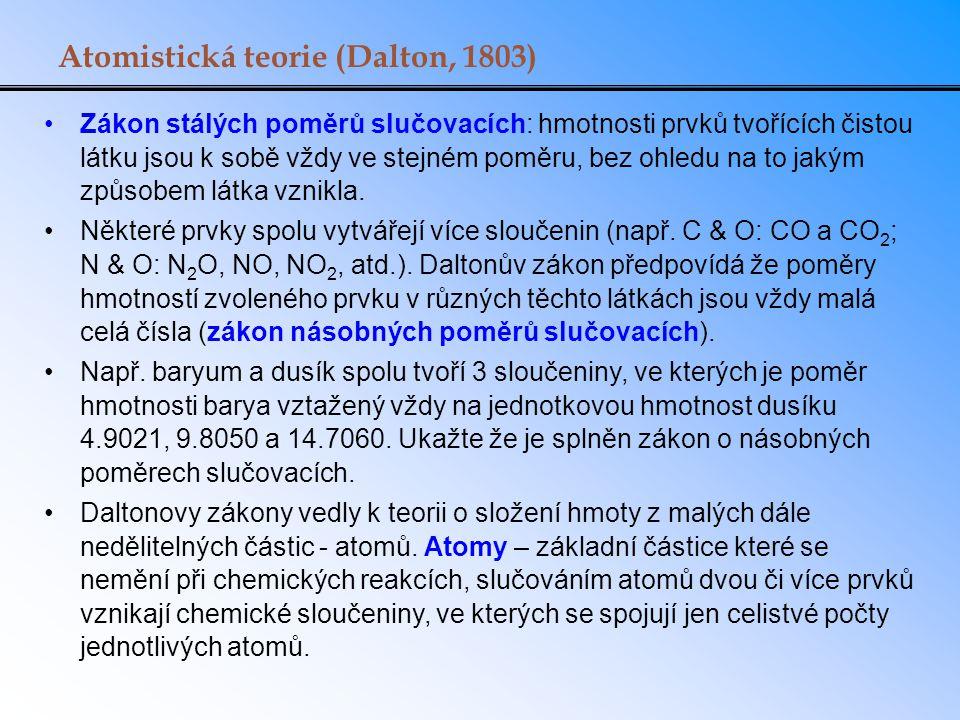 Atomistická teorie (Dalton, 1803) Zákon stálých poměrů slučovacích: hmotnosti prvků tvořících čistou látku jsou k sobě vždy ve stejném poměru, bez ohl