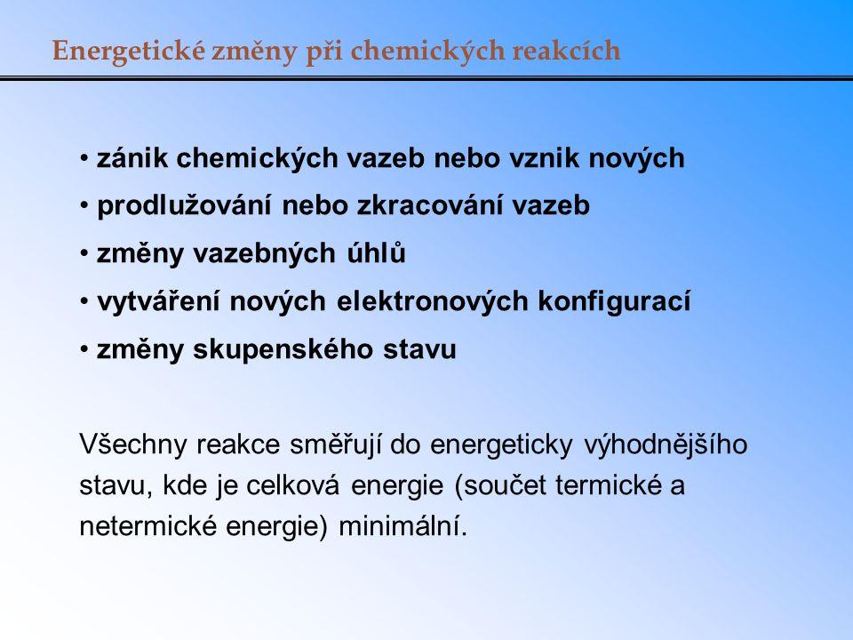Energetické změny při chemických reakcích zánik chemických vazeb nebo vznik nových prodlužování nebo zkracování vazeb změny vazebných úhlů vytváření n