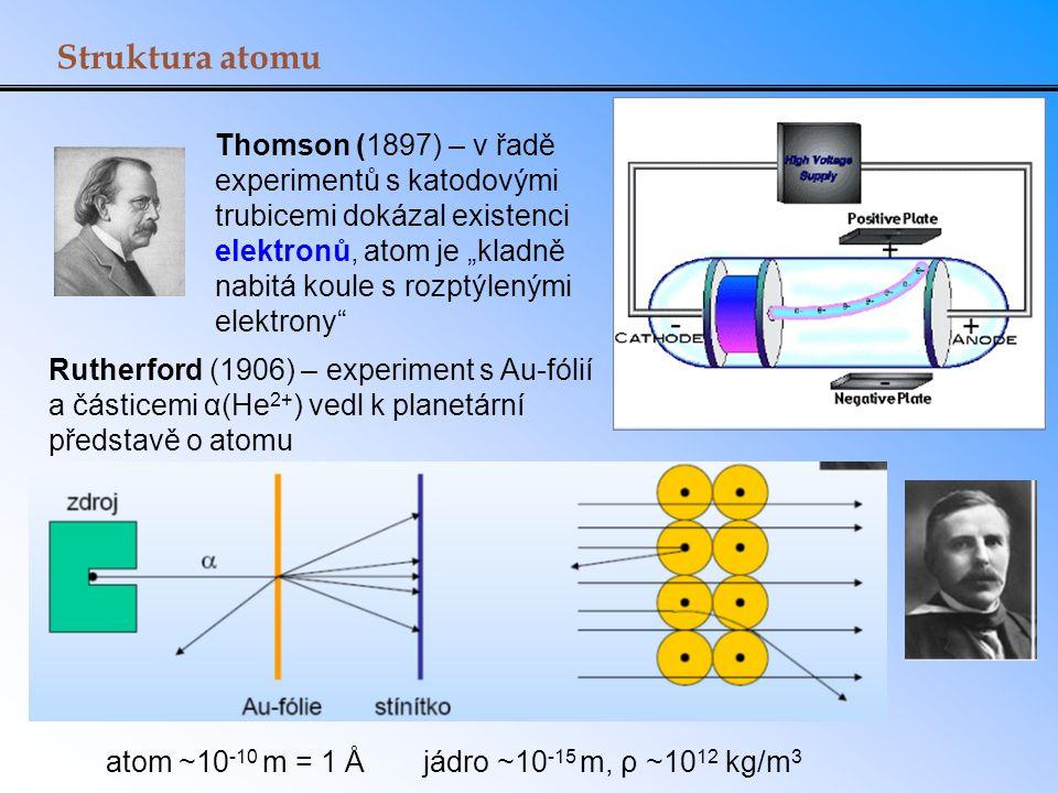 Struktura atomu Rutherford (1906) – experiment s Au-fólií a částicemi α(He 2+ ) vedl k planetární představě o atomu Thomson (1897) – v řadě experiment