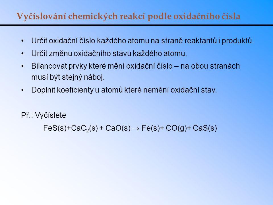 Vyčíslování chemických reakcí podle oxidačního čísla Určit oxidační číslo každého atomu na straně reaktantů i produktů. Určit změnu oxidačního stavu k