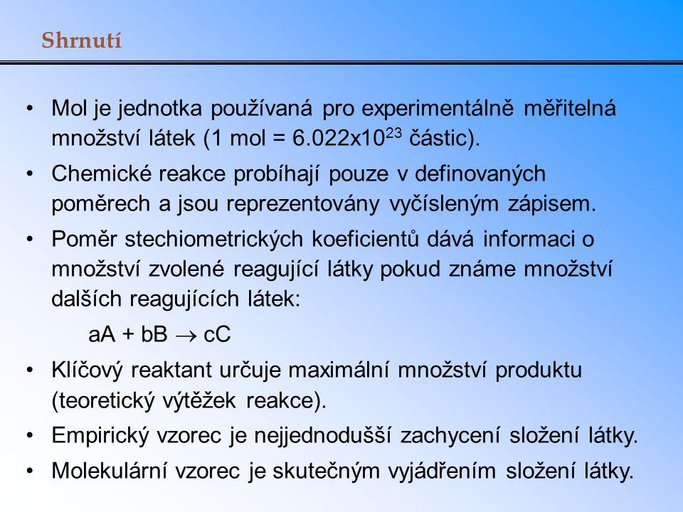 Shrnutí Mol je jednotka používaná pro experimentálně měřitelná množství látek (1 mol = 6.022x10 23 částic). Chemické reakce probíhají pouze v definova