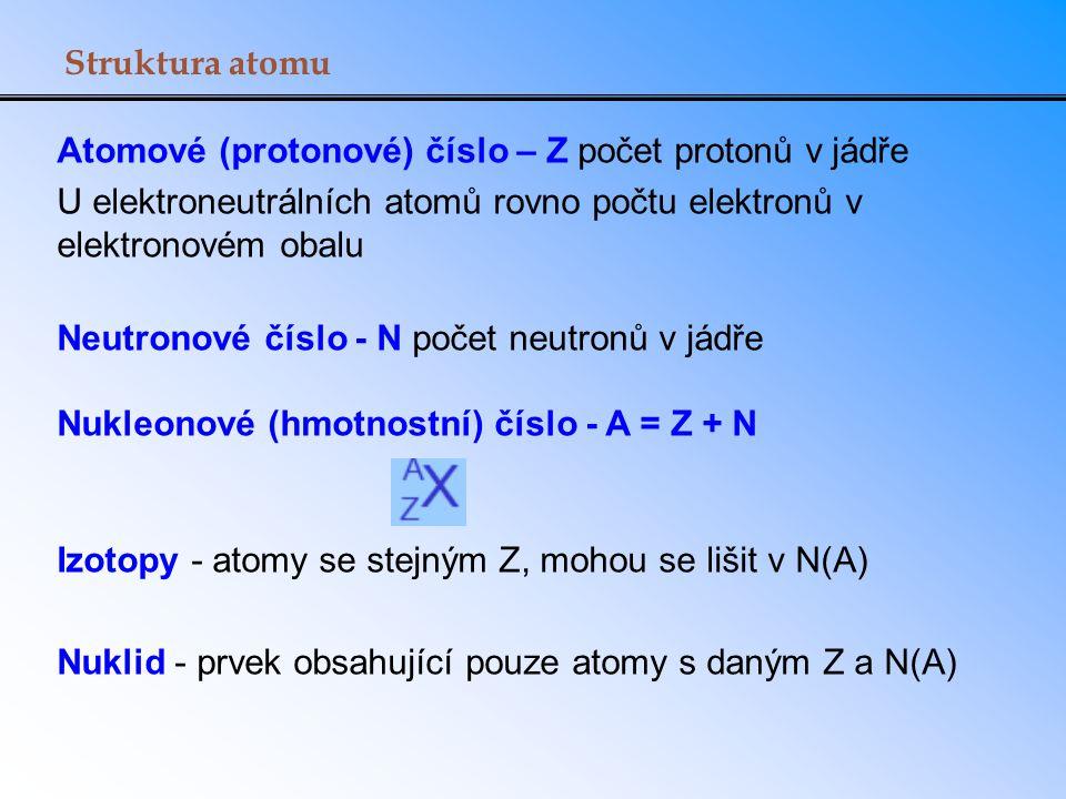 Struktura atomu Atomové (protonové) číslo – Z počet protonů v jádře U elektroneutrálních atomů rovno počtu elektronů v elektronovém obalu Neutronové č