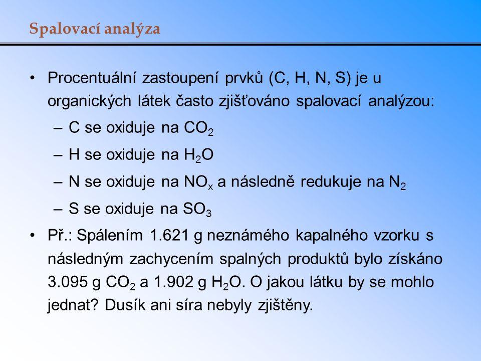 Spalovací analýza Procentuální zastoupení prvků (C, H, N, S) je u organických látek často zjišťováno spalovací analýzou: –C se oxiduje na CO 2 –H se o