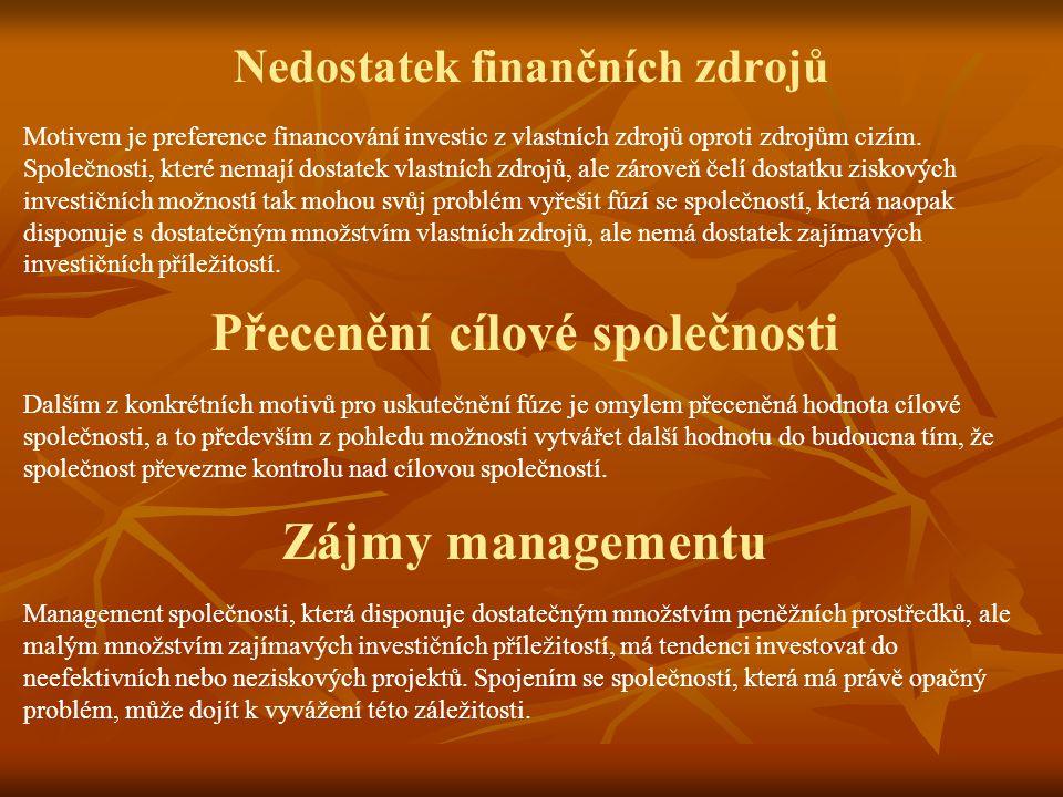 Nedostatek finančních zdrojů Motivem je preference financování investic z vlastních zdrojů oproti zdrojům cizím.