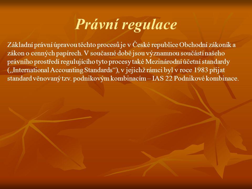 Právní regulace Základní právní úpravou těchto procesů je v České republice Obchodní zákoník a zákon o cenných papírech.