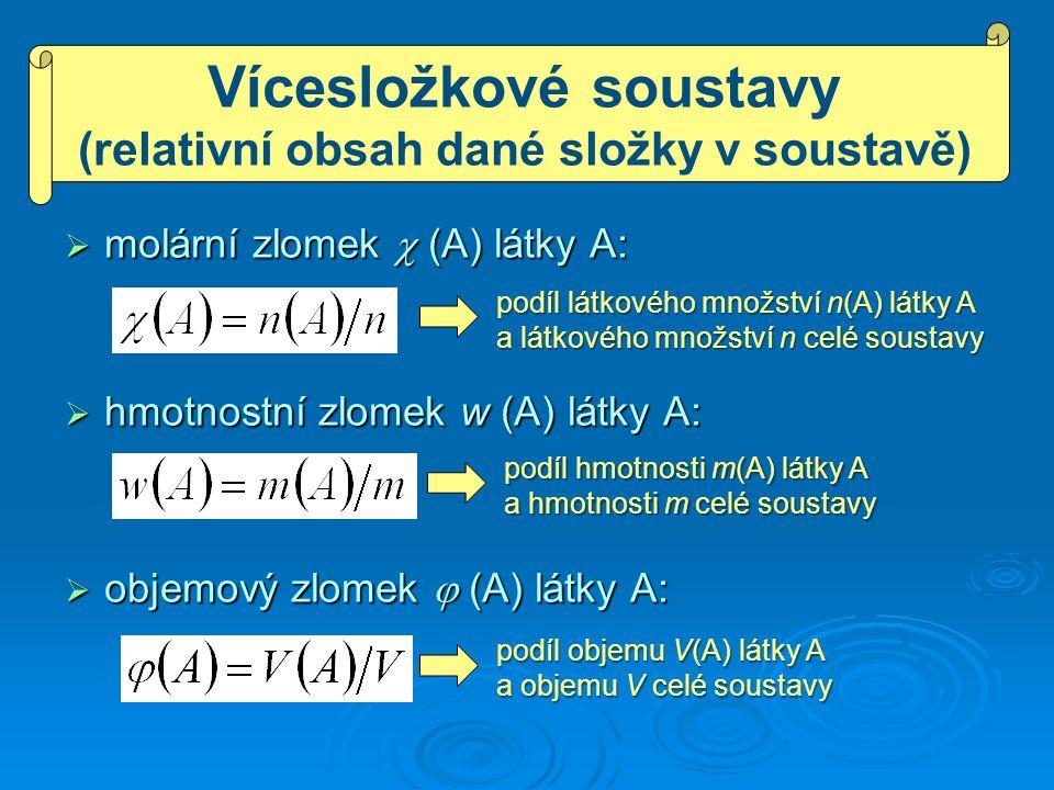  molární zlomek  (A) látky A:  hmotnostní zlomek w (A) látky A:  objemový zlomek  (A) látky A: podíl látkového množství n(A) látky A a látkového