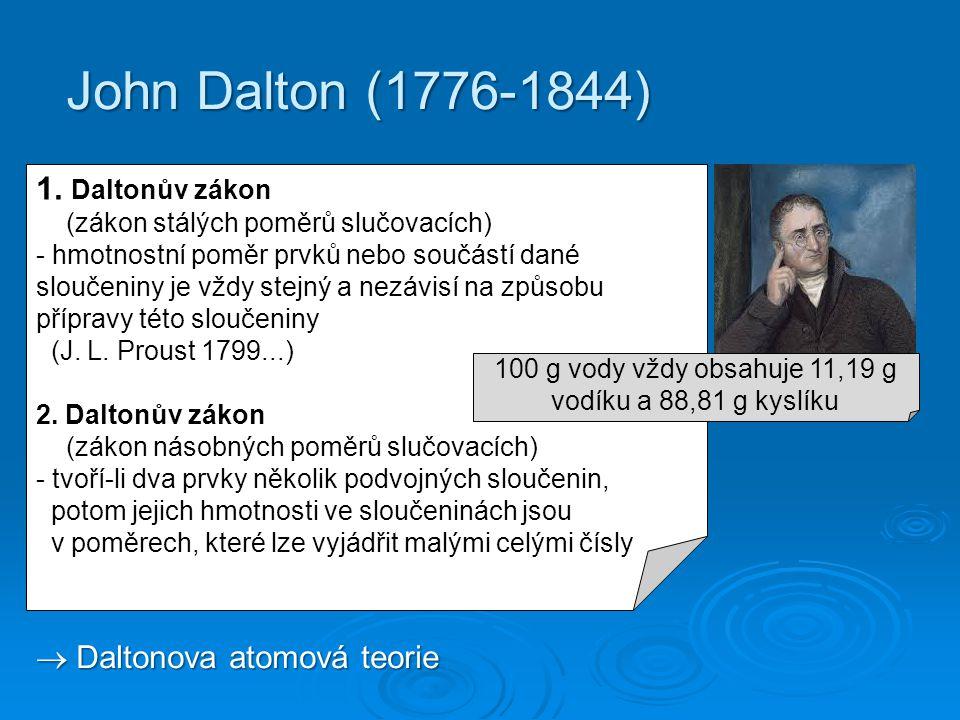John Dalton (1776-1844) 1. Daltonův zákon (zákon stálých poměrů slučovacích) - hmotnostní poměr prvků nebo součástí dané sloučeniny je vždy stejný a n