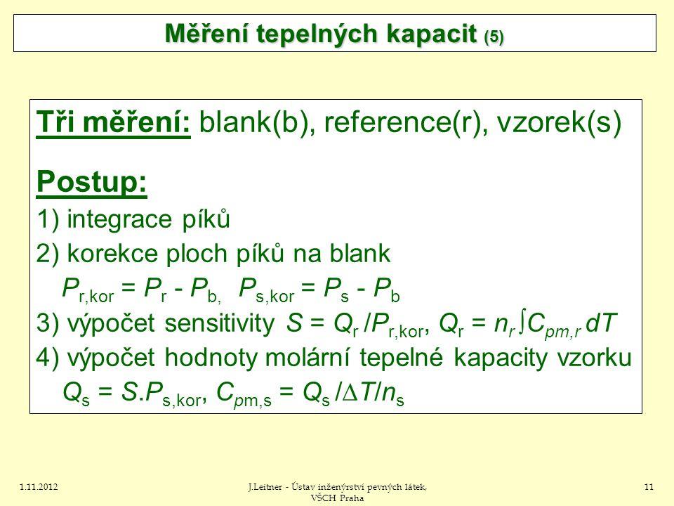 1.11.2012J.Leitner - Ústav inženýrství pevných látek, VŠCH Praha 11 Tři měření: blank(b), reference(r), vzorek(s) Postup: 1) integrace píků 2) korekce ploch píků na blank P r,kor = P r - P b, P s,kor = P s - P b 3) výpočet sensitivity S = Q r /P r,kor, Q r = n r ∫C pm,r dT 4) výpočet hodnoty molární tepelné kapacity vzorku Q s = S.P s,kor, C pm,s = Q s /  T/n s Měření tepelných kapacit (5)