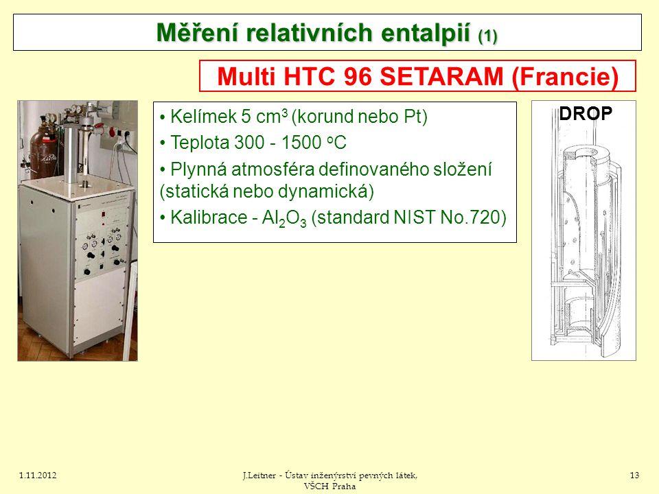 1.11.2012J.Leitner - Ústav inženýrství pevných látek, VŠCH Praha 13 Kelímek 5 cm 3 (korund nebo Pt) Teplota 300 - 1500 o C Plynná atmosféra definovaného složení (statická nebo dynamická) Kalibrace - Al 2 O 3 (standard NIST No.720) Multi HTC 96 SETARAM (Francie) Měření relativních entalpií (1) DROP