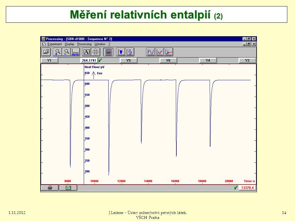 1.11.2012J.Leitner - Ústav inženýrství pevných látek, VŠCH Praha 14 Měření relativních entalpií (2)