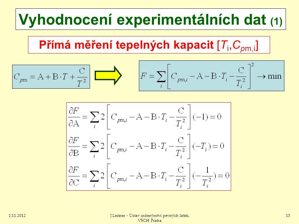 1.11.2012J.Leitner - Ústav inženýrství pevných látek, VŠCH Praha 15 Vyhodnocení experimentálních dat (1) Přímá měření tepelných kapacit [T i,C pm,i ]