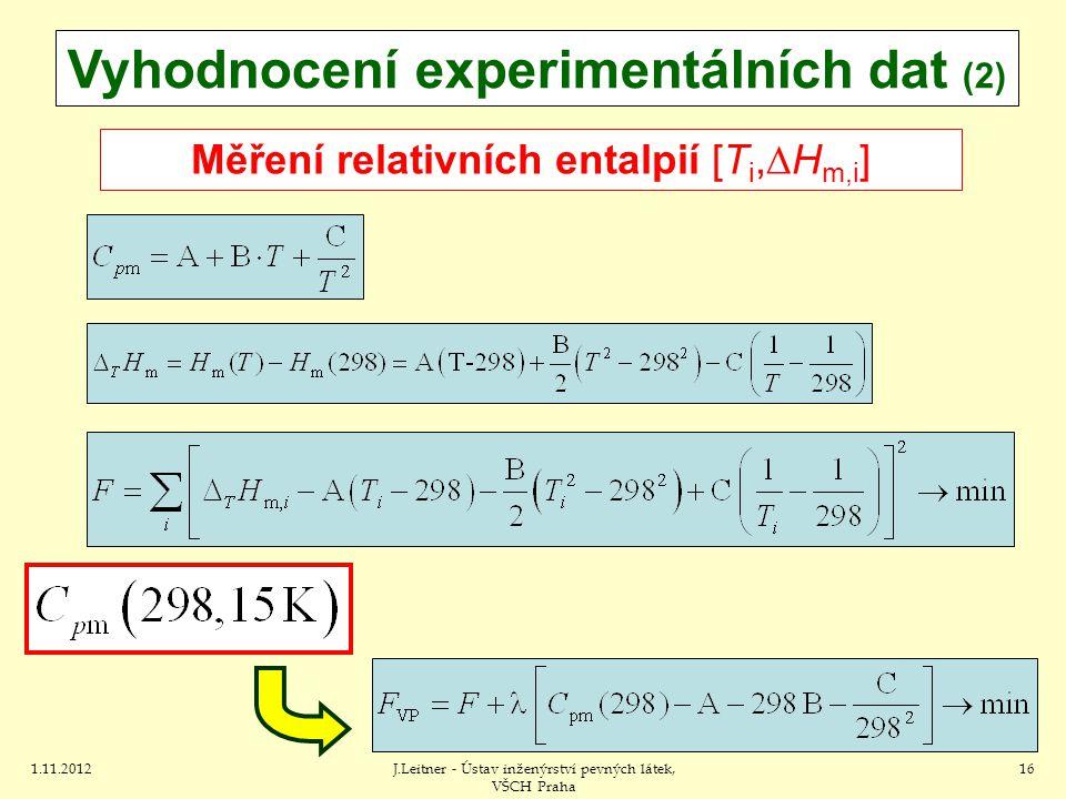 1.11.2012J.Leitner - Ústav inženýrství pevných látek, VŠCH Praha 16 Vyhodnocení experimentálních dat (2) Měření relativních entalpií [T i,  H m,i ]