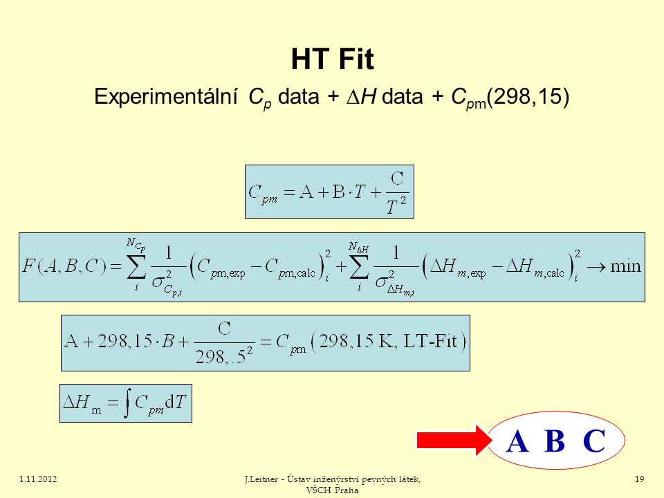 1.11.2012J.Leitner - Ústav inženýrství pevných látek, VŠCH Praha 19 HT Fit Experimentální C p data +  H data + C pm (298,15) A B C