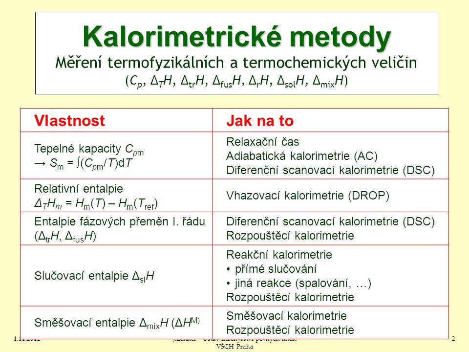 1.11.2012J.Leitner - Ústav inženýrství pevných látek, VŠCH Praha 2 VlastnostJak na to Tepelné kapacity C pm → S m = ∫(C pm /T)dT Relaxační čas Adiabatická kalorimetrie (AC) Diferenční scanovací kalorimetrie (DSC) Relativní entalpie Δ T H m = H m (T) – H m (T ref ) Vhazovací kalorimetrie (DROP) Entalpie fázových přeměn I.
